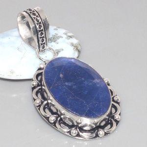 Jewelry - Blue Sapphire Silver Overlay Pendant